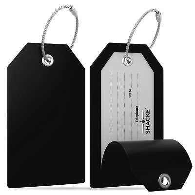 Shacke Luggage Tags with Full Back Privacy Cover wSteel Loops - Set of 2