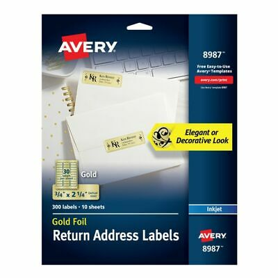 Avery® Permanent Inkjet Foil Mailing Labels 8987 34 x 2 14 Gold Foil Pac
