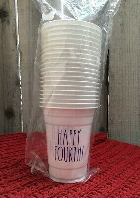 RAE DUNN 20 HAPPY FOURTH Plastic Cups 16oz    🇺🇸 4th Of July Party 🇺🇸