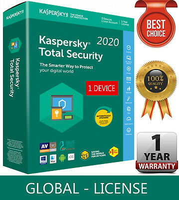 KASPERSKY TOTAL Security 2020  1 Device  1 Year  GLOBAL-KEY Download 7-54