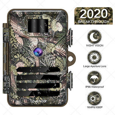 16MP Trail Camera IP66 Waterproof Outdoor Hunting Cam with No Glow Night Vision