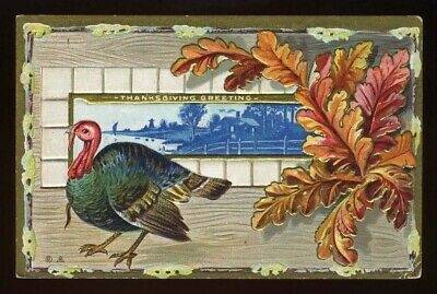 THANKSGIVING POSTCARD HEAVILY EMBOSSED AND GILDED THANKSGIVING TURKEY