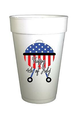 Fourth of July Party Cups-Happy Fourth of July Patriotic BBQ Grill