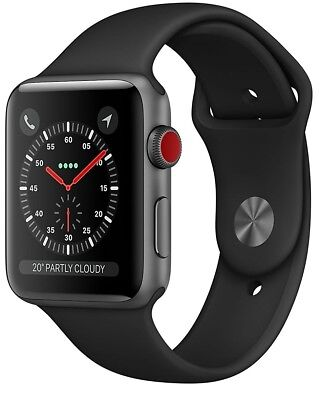 Apple Watch Series 3 42mm Space Gray Case Black Sport Band GPS - Cellular Used