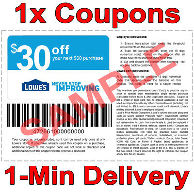 1x Lowes 30 OFF 60 INSTANT Discount Fastest DELIVERY-1COUPON INSTORE ONLY