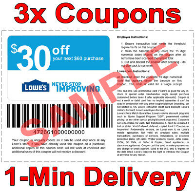 3x Lowes 30 OFF 60 INSTANT Discount Fastest DELIVERY-1COUPON INSTORE ONLY