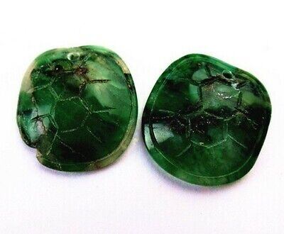 2pcs 20x21x7mm green Aventurine carved tortoise shell  pendant bead R8475