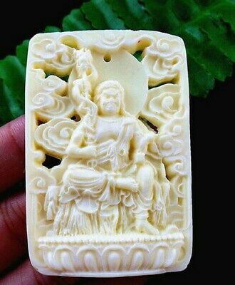 40x59x9mm white tridacna carved Buddhism  pendant bead R8461