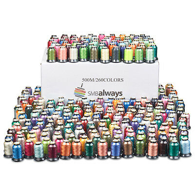 Polyester Embroidery Machine Thread Set - 500m each 260 Spools