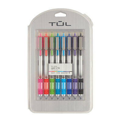 TUL Retractable Gel Pens Needle Point 0-5 mm Bright Ink 8-Pack