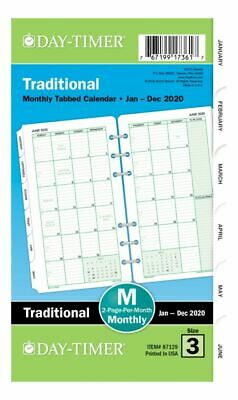 Day-Timer Classic Monthly Refill Portable Size 3-75 x 6-75 Jan-Dec 2020