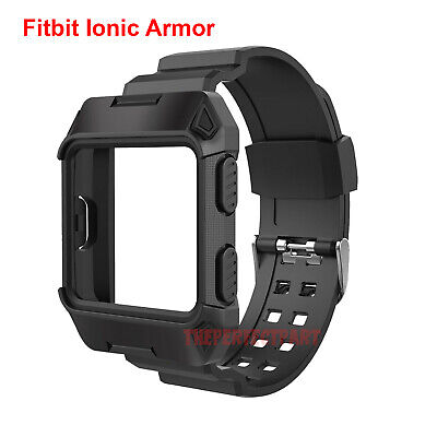 Black Armor For Fitbit Ionic Rugged Band Protective Case Large Wristband Strap