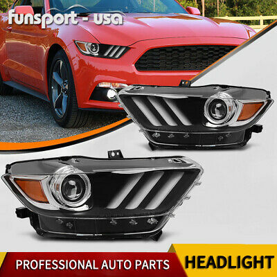 For 2015-2017 Ford Mustang Aftermarket Replacement Projector Headlights Headlamp