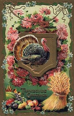 2278 Gold Metallic Turkey Posing With Flowers and Hay Thanksgiving Postcard