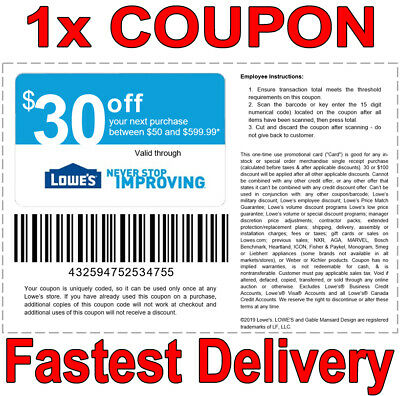 1x Lowes 30 OFF 50 INSTANT FAST DELIVERY-1COUPON INSTORE ONLY EXPIRES 𝟗𝟏𝟗