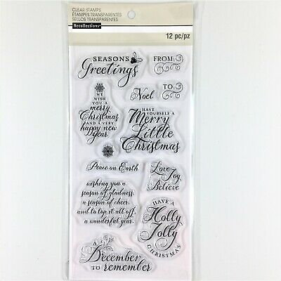 Recollections Holiday Wishes Clear Stamp Set Christmas Greetings Messages Phrase