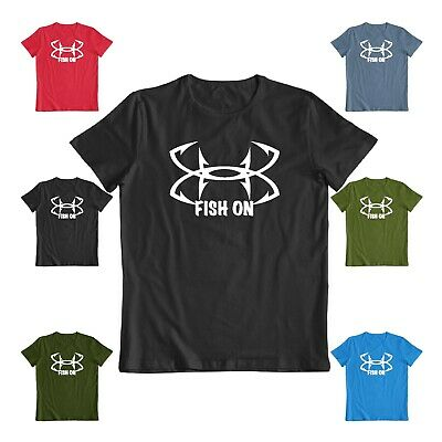 Fish on T shirt Gift tee Fathers Day funny Tshirt Hooks fishing-man tee
