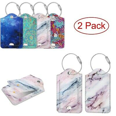 2 Pack Luggage Tags Name ID Labels with Privacy Cover For Travel Bag Suitcase