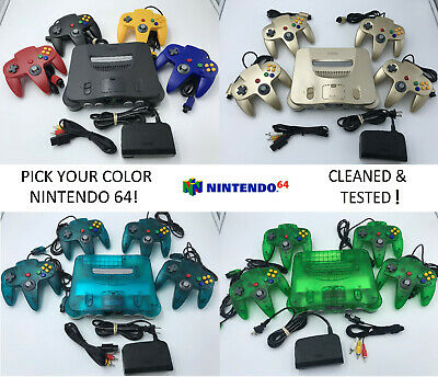 Choose Nintendo 64 Console Color - Up to 4 Controllers - Cords  CLEANED N64