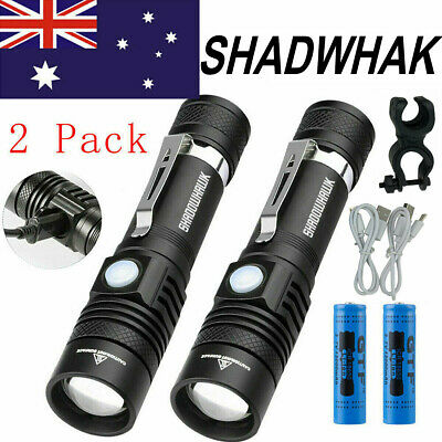 2 Packs Flashlight CREE XM-L T6 LED Torch USB Rechargeable 60000LM Shadowhawk