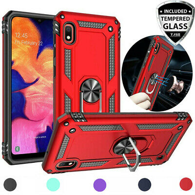 For Samsung Galaxy A10e A20 A50 Case Magnetic Metal Ring Stand -Tempered Glass