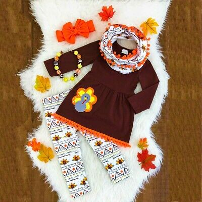 US Toddler Kids Baby Girl Thanksgiving Dress Tops Pants 3PCS Outfits Set Clothes