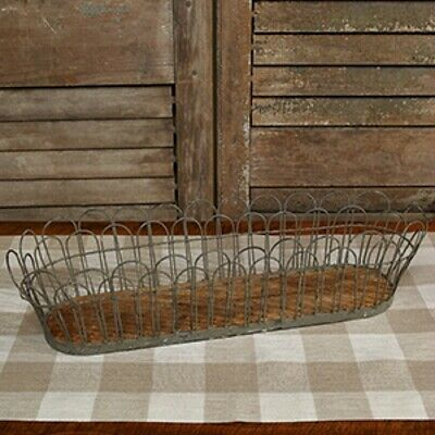 New French Country Farmhouse Chic WOOD - WIRE BREAD BASKET Holder Tray