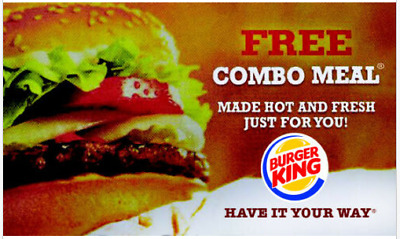 Lot of 10 Burger King Combo Vouchers - SUPER FAST DELIVERY W Tracking