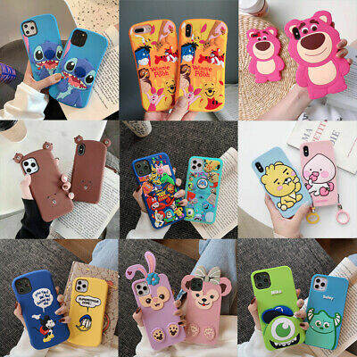 For iPhone 11 Pro XS Max X 7 8- Cute Cartoon Bear silicone Shockproof case cover