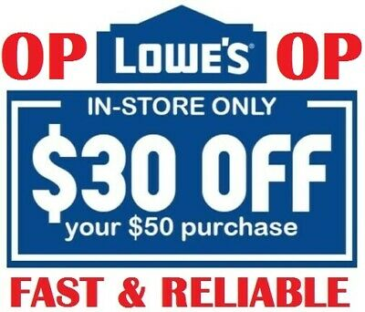 LOWES 30 off 50 In-Store 12Coupons Instant Delivery Expires 01252020