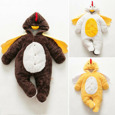 Infant Baby Girl Boy Thanksgiving Clothes Turkey Costume Romper Hooded Outfit US