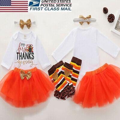 US My 1st Thanksgiving Baby Girl Romper-Skirt-Leg Warmers Thanksgiving Outfits