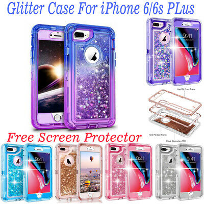 For i Phone 66S Plus  Shockproof Defender Glitter Case W Free Screen Protector