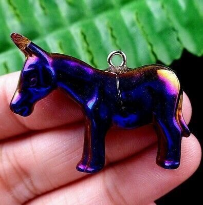 37x30x6mm blue hematite carved donkey Pendant Bead J50592