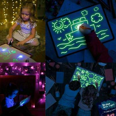 Pop Fluorescent Light Writing Pad Educational Toy Kids Drawing Painting Board US