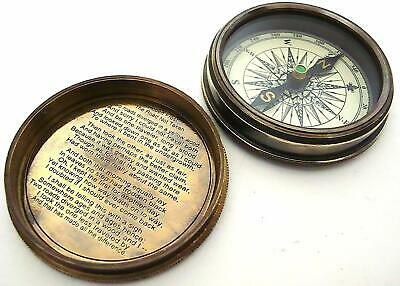 Antique Nautical Frost Poem Compass-Pocket Compass wLeather Case