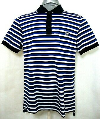THE WIMBLEDON CHAMPIONSHIPS Mens Large Blue Black Striped short sleeve polo NWT