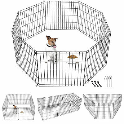 24 Inch 8 Panels Tall Dog Playpen Large Crate Fence Pet Play Pen Exercise Cage