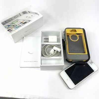 Apple iPhone 4S 8GB AT-T Unlocked GSM Phone White Otter Box Defender Series Case