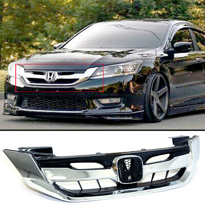 Fit 13-15 9th Gen Honda Accord 4 Door Chrome JDM Mod Style Front Hood Grille