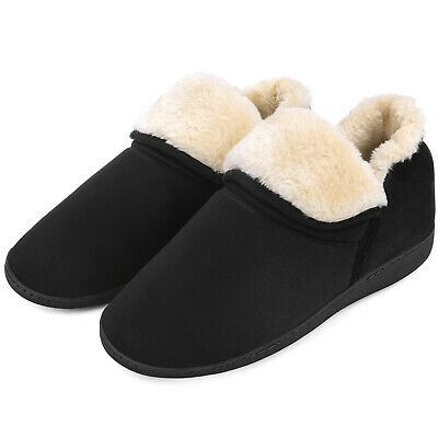 Mens Plush Fuzzy Ankle Bootie Slippers Memory Foam Warm House Shoes