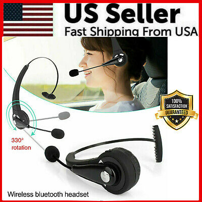 Noise Cancelling Wireless Bluetooth Headset Over the Head Boom wMic For Trucker