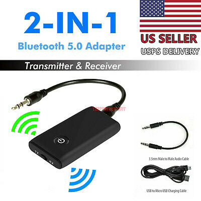 Bluetooth 5-0 Transmitter Receiver 2 IN 1 Wireless Audio 3-5mm Jack Aux Adapter