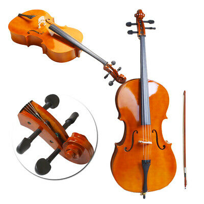44 Full Size Natural BassWood Cello Set with Bag-Bow-Bridge-Rosin