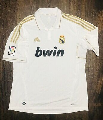 Real Madrid Adidas BWIN Men's XL Climacool Soccer Jersey White Shirt Top EUC 🔥
