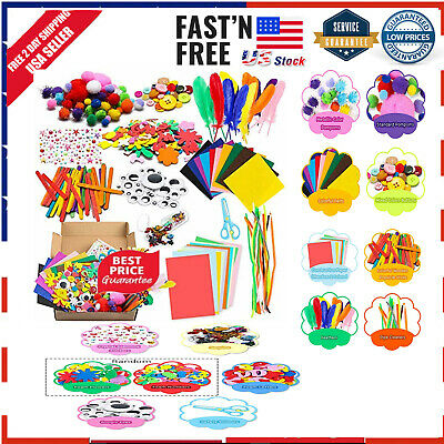 WATINC 1000Pcs DIY Art Craft Kit for Kids Creative Pompoms Pipe Cleaners Feather