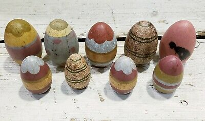 Primitive Wood Eggs 9pc Set Chicken Eggs Spring Easter Rustic Farmhouse
