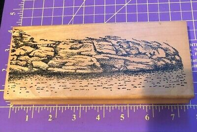 Large Wooden Rubber stamp Seascape