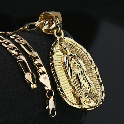 Guadalupe Width 14k Gold PT Charm Pendant 5mm 24 Figaro Necklace Choker Chain