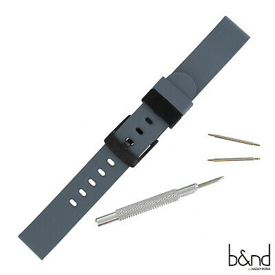 B-ND Hadley Roma BND300 Mode 20mm Gray Genuine Silicone Strap Fits Smart Watch